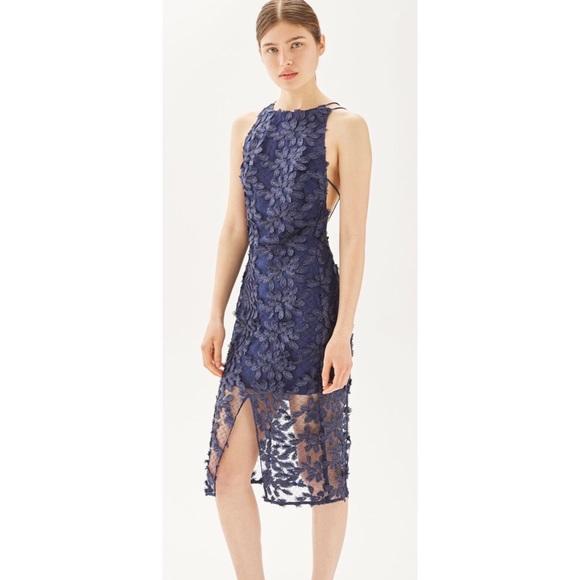 82602e7b6549b4 Topshop Dresses | Blue Leaf Appliqu Lace Midi Dress | Poshmark